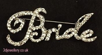 Large diamante brooches -bride brooch silver pin 58 x 20 mm