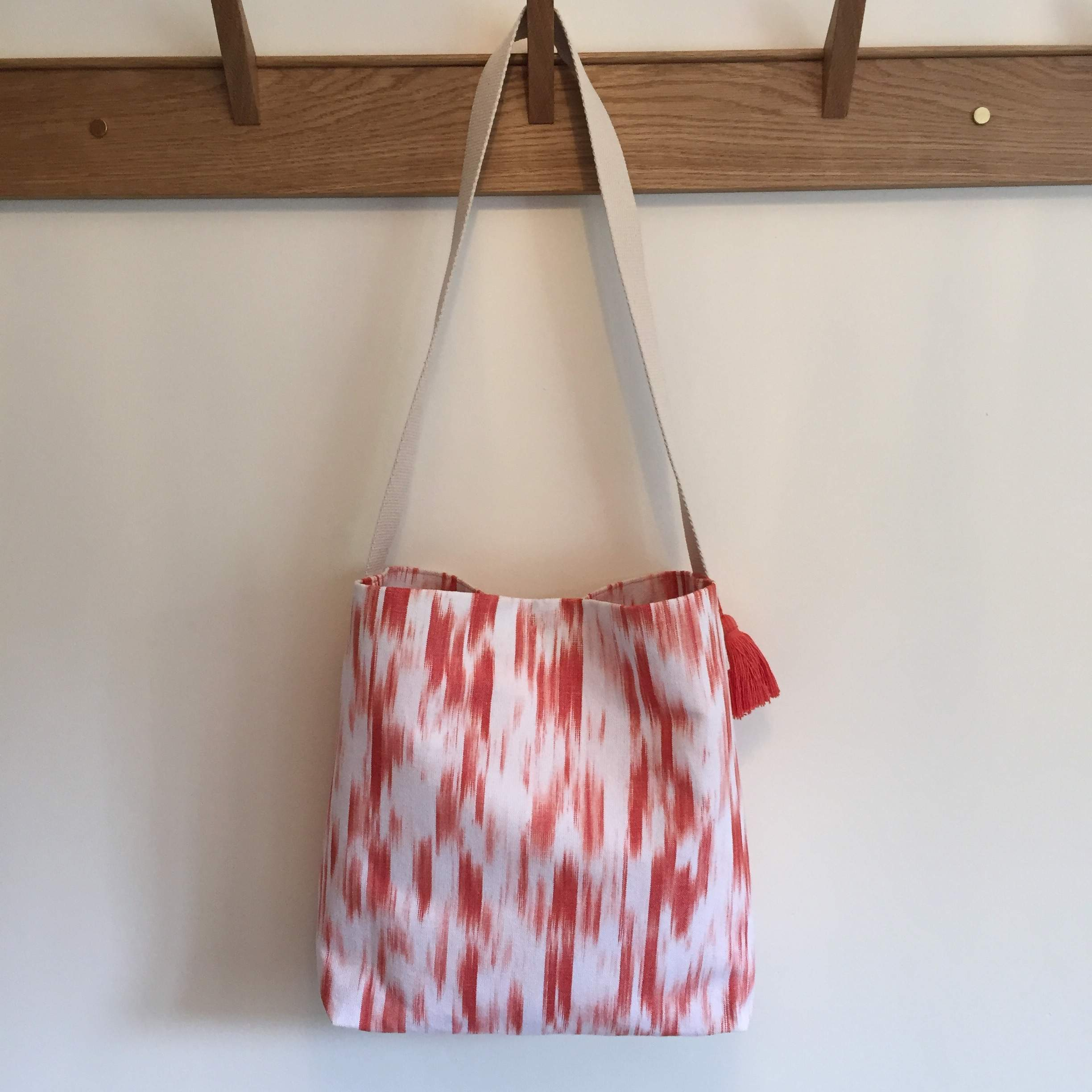 Coral Ikat Shoulder Bag with Tassel