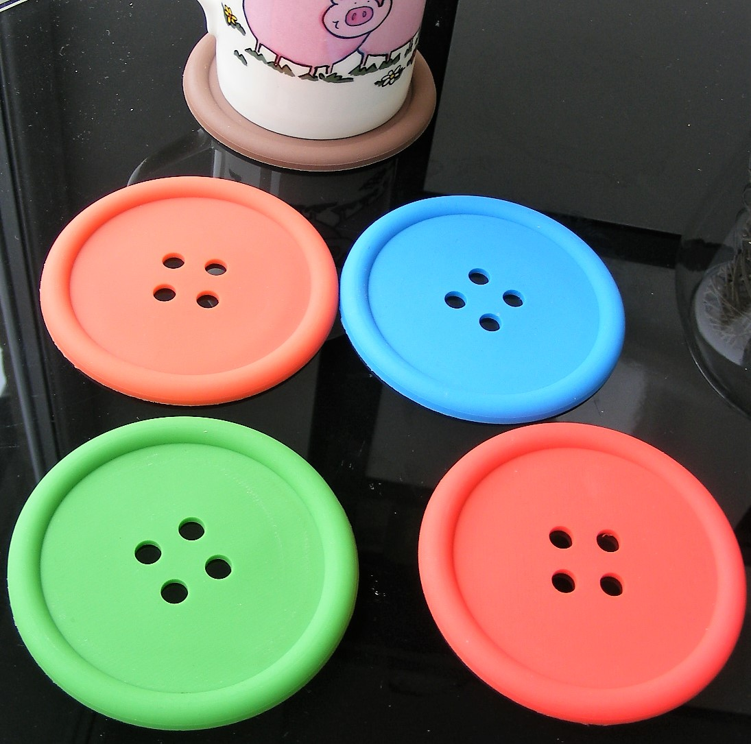 5 silicone non-slip colourful button cup coasters