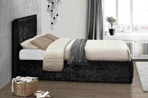 HANNOVER FABRIC OTTOMAN BLACK VELVET BED - KING