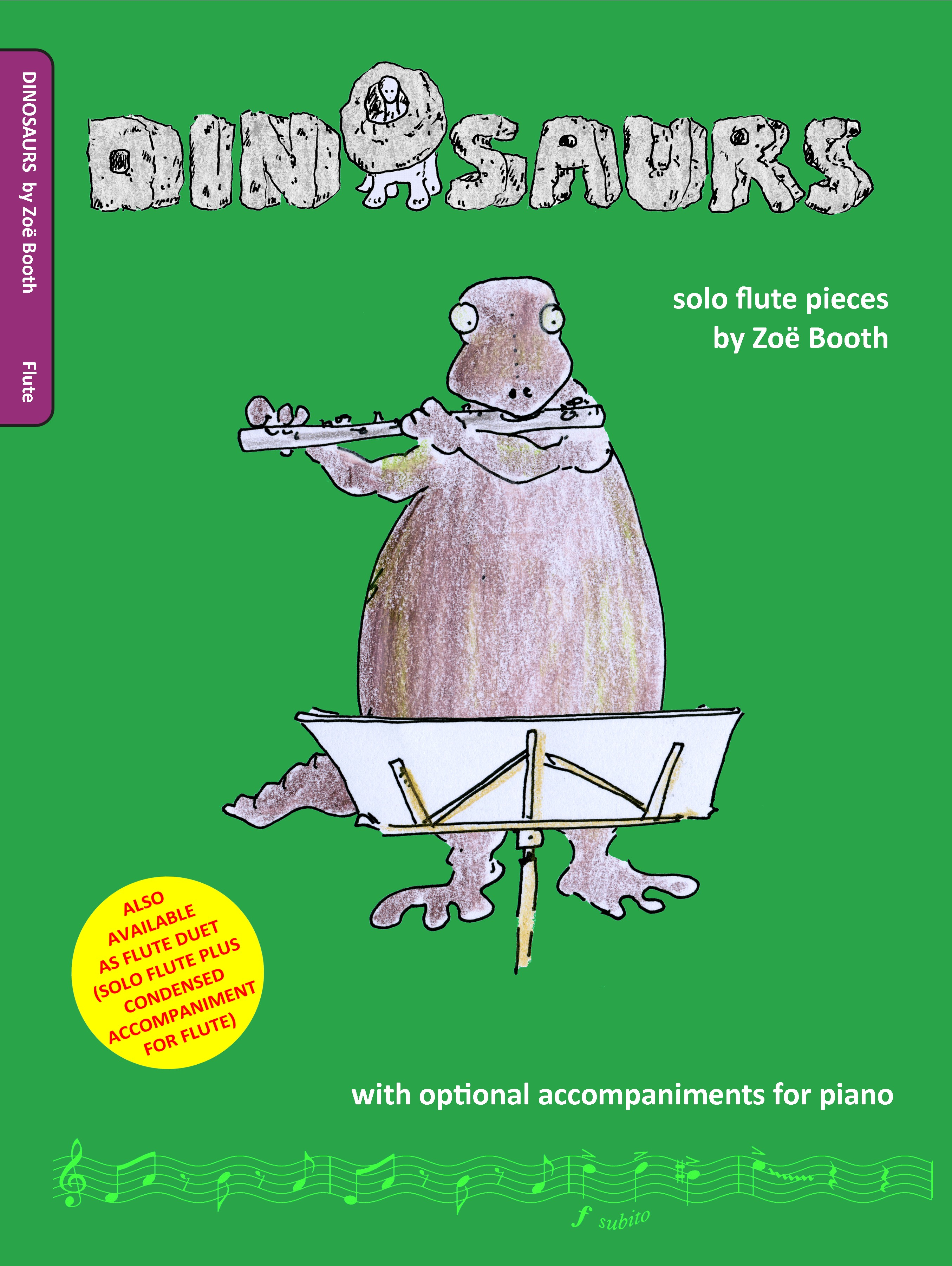 Dinosaurs for flute by Zoë Booth with optional piano accompaniment