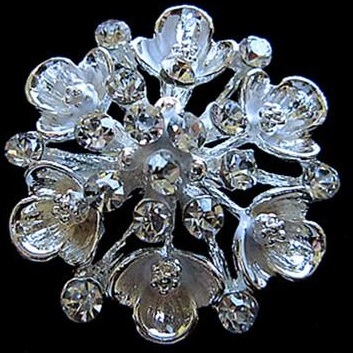 Small silver brooches - brushed silver flower brooch 30 mm