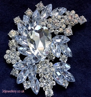 Extra large brooches - bella statement wedding brooch 80 x 55 mm