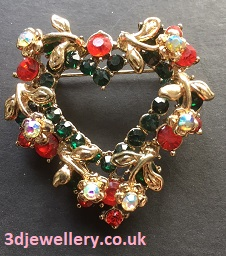 Heart brooch with multicoloured stones 45 mm