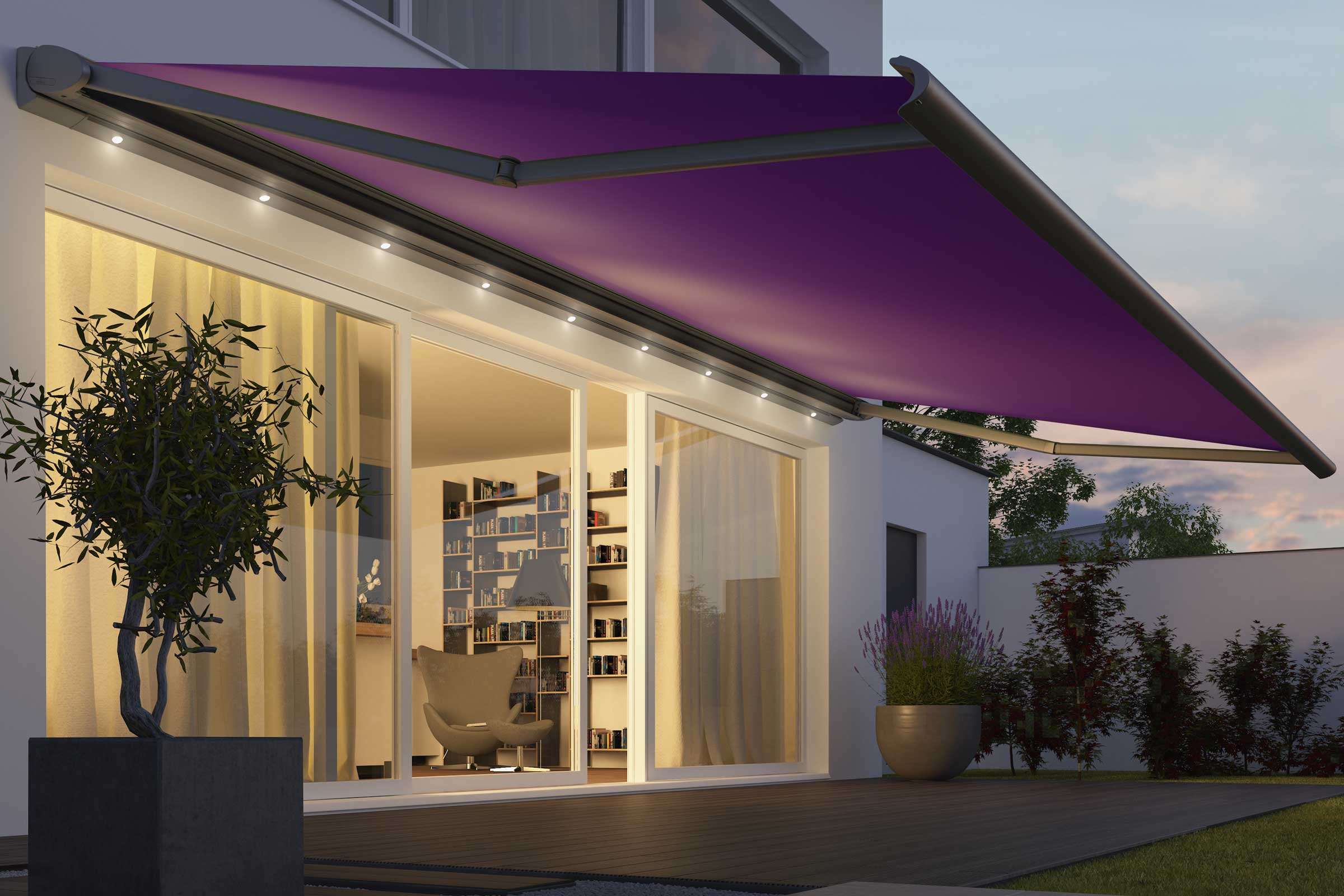 Purple awning