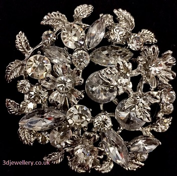 Large diamante brooches - lacy floral silver brooch 60 mm