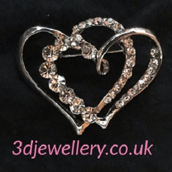 Large silver brooches- hearts entwined brooch 45 x 30 mm