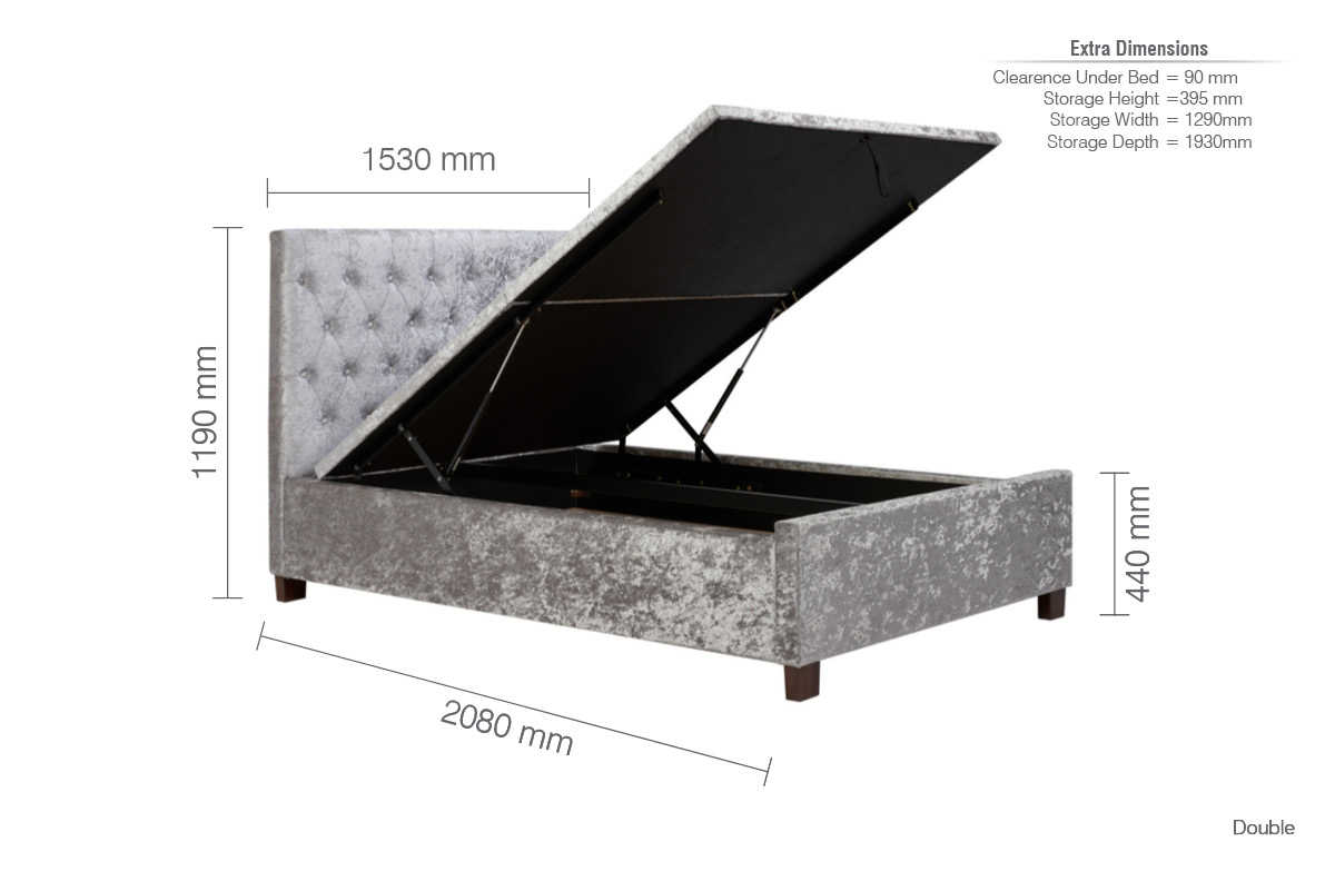 COLOGNE OTTOMAN DOUBLE BED - CRUSHED STEEL