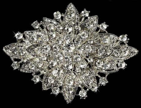 Diamante brooches -diamond shaped silver brooch 65x45mm