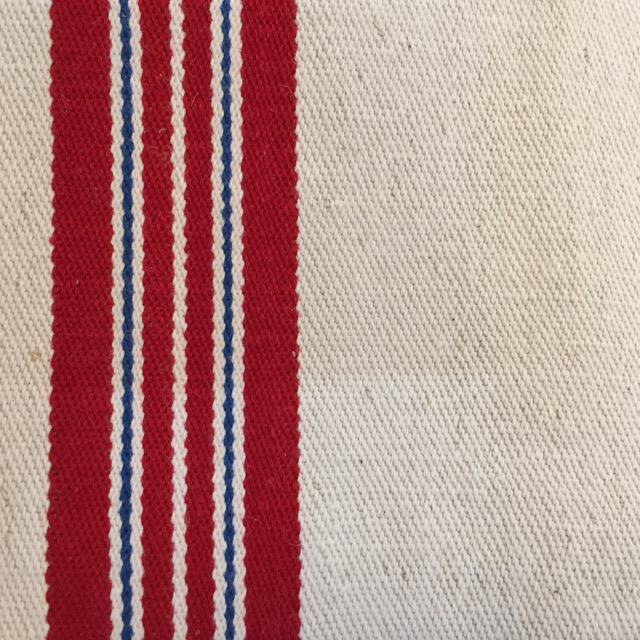 Hopsack - red and blue stripe on ivory