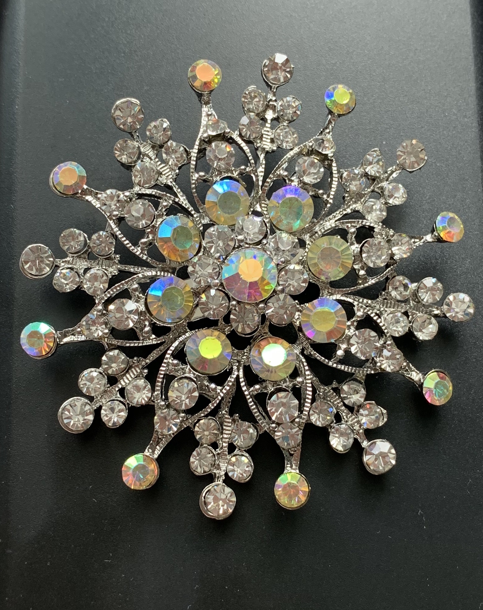 Large diamante brooches - snowflake rainbow crystal silver brooch  60 mm