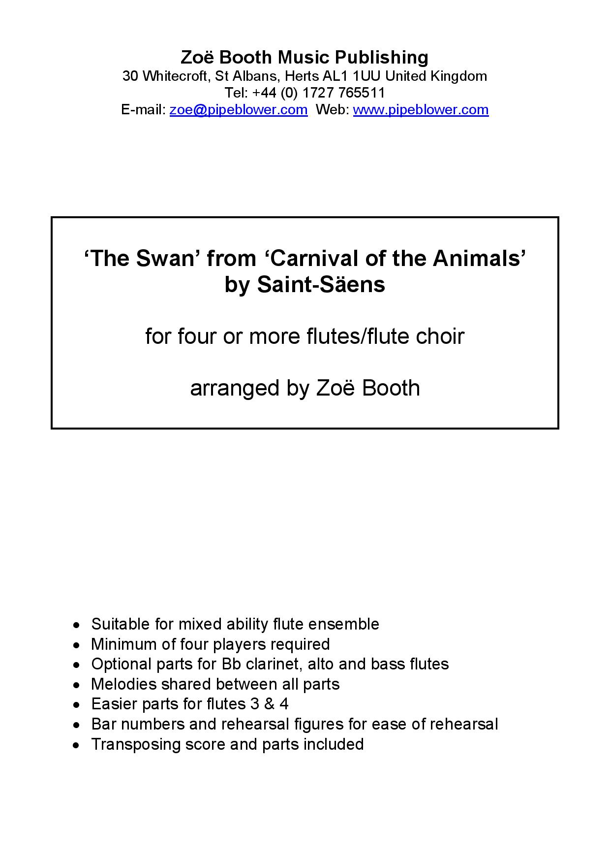 The Swan by Saint-Saëns  arranged by Zoë Booth for four or more flutes/flute choir