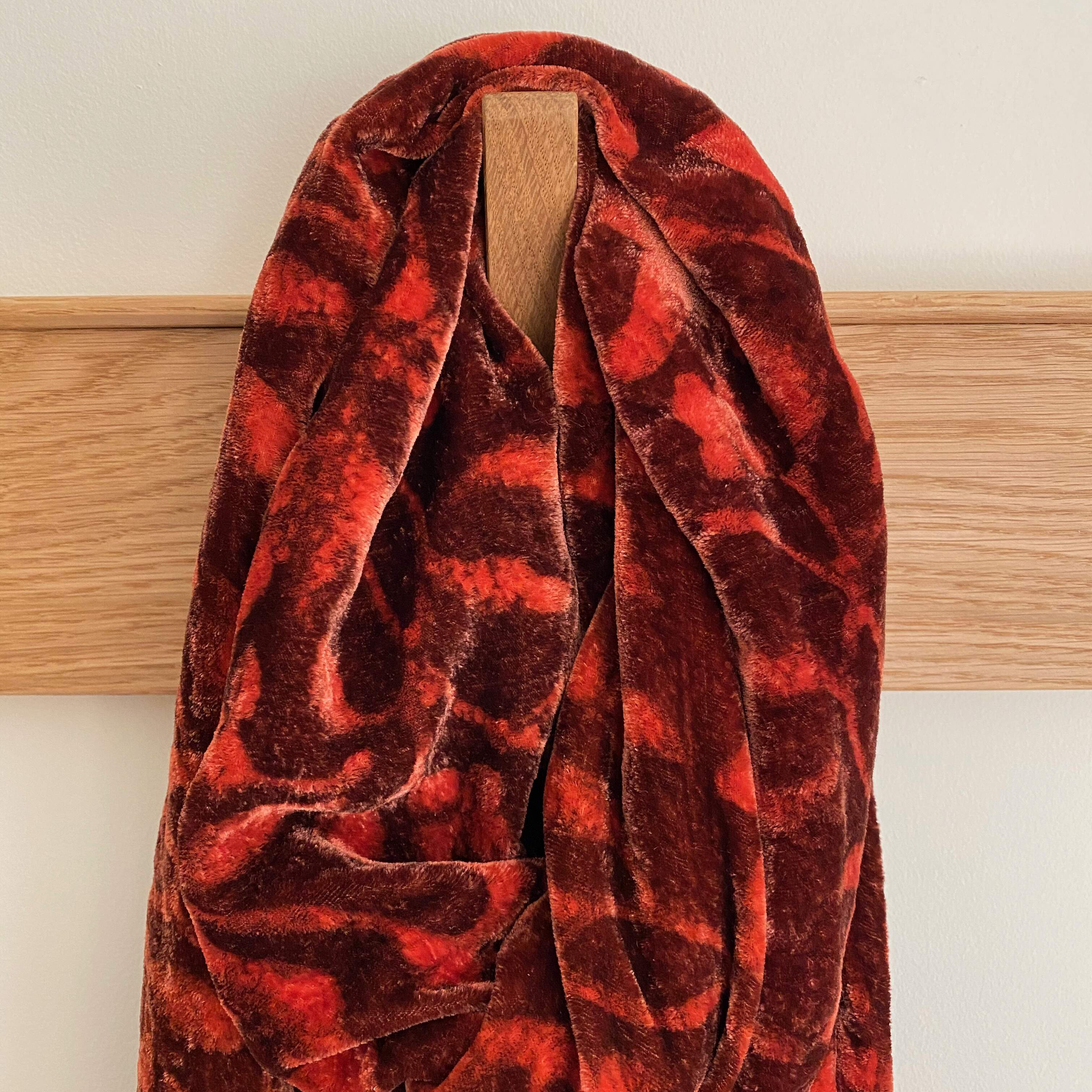 Madder Red Silk Velvet Block Printed Scarf