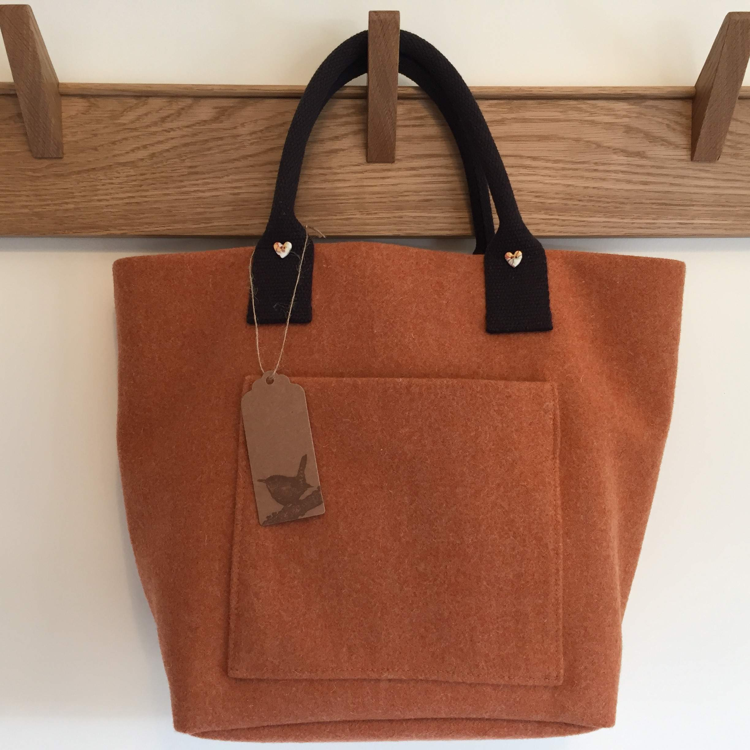Wool Tote in Burnt Orange with Front Pocket