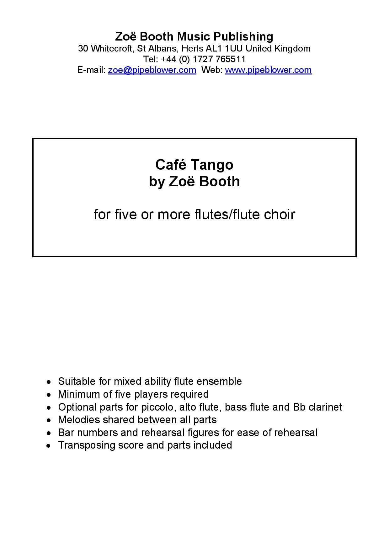 Café Tango  by Zoë Booth for five or more flutes/flute choir