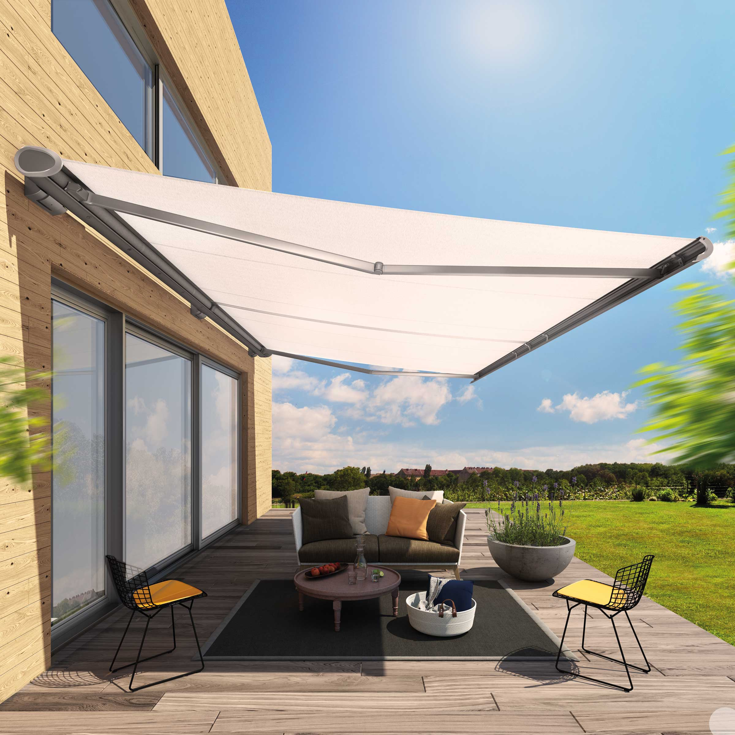 A side view of the Semin Life Awning in time lapse