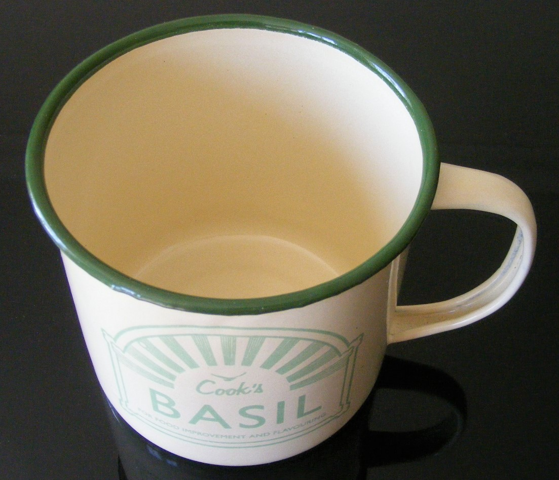 Enamel mug and sweet basil seed mat