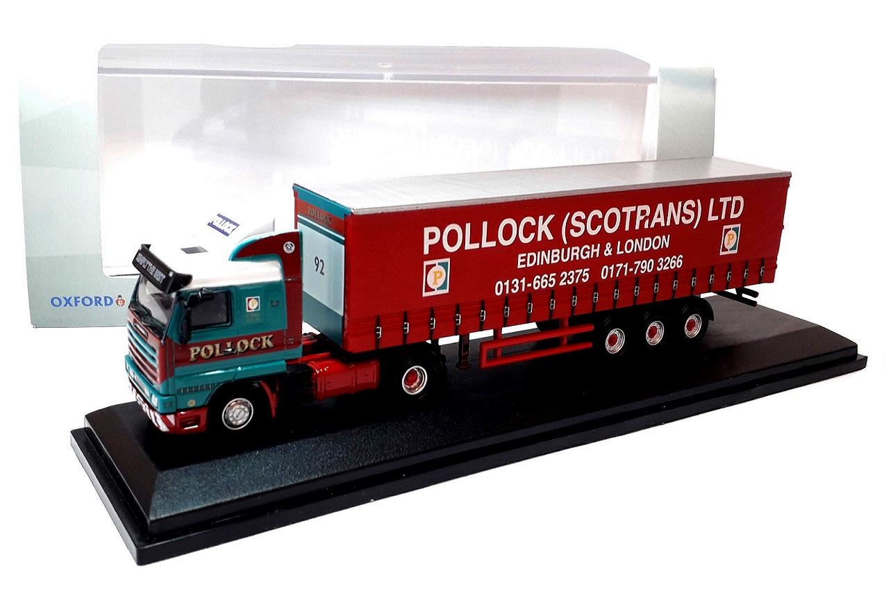 SCANIA 143 40ft CURTAINSIDE Pollock - 1:76 Scale Die-cast Lorry Model by Oxford