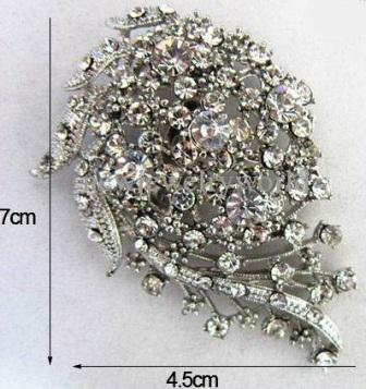 Large diamante brooches - meteor silver brooch 70 x 45 mm