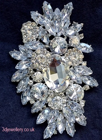 Extra large brooches -Summer wedding silver statement brooch 90 x 58 mm