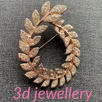 Rose gold brooches - wreath of leaves rose gold brooch  55 mm x 45 mm
