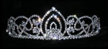 Prom crowns - living orchid diamante tiara 2""