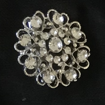 Small silver brooches - antique silver colour crystal heart flower diamante brooch 30 mm