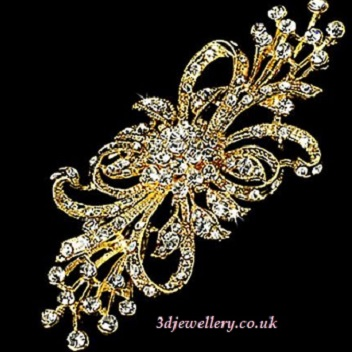 Extra large brooches -  flower spray diamante wedding sash brooch in gold  95 mm