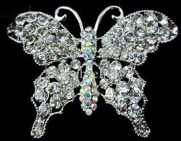 Large diamante brooches - diamante butterfly brooch in silver 57 x 40 mm