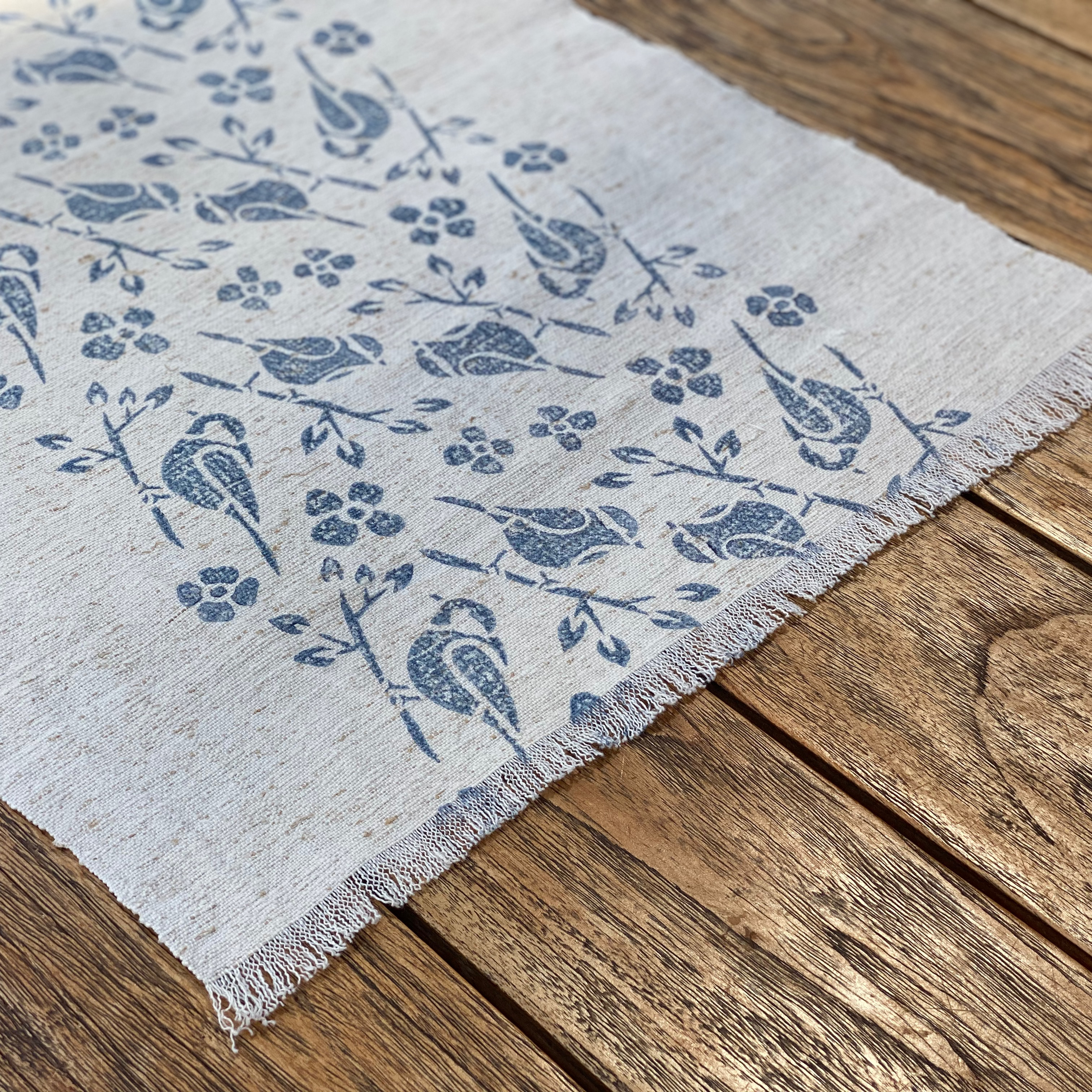 Hand Block Printed Table Runner in Blue