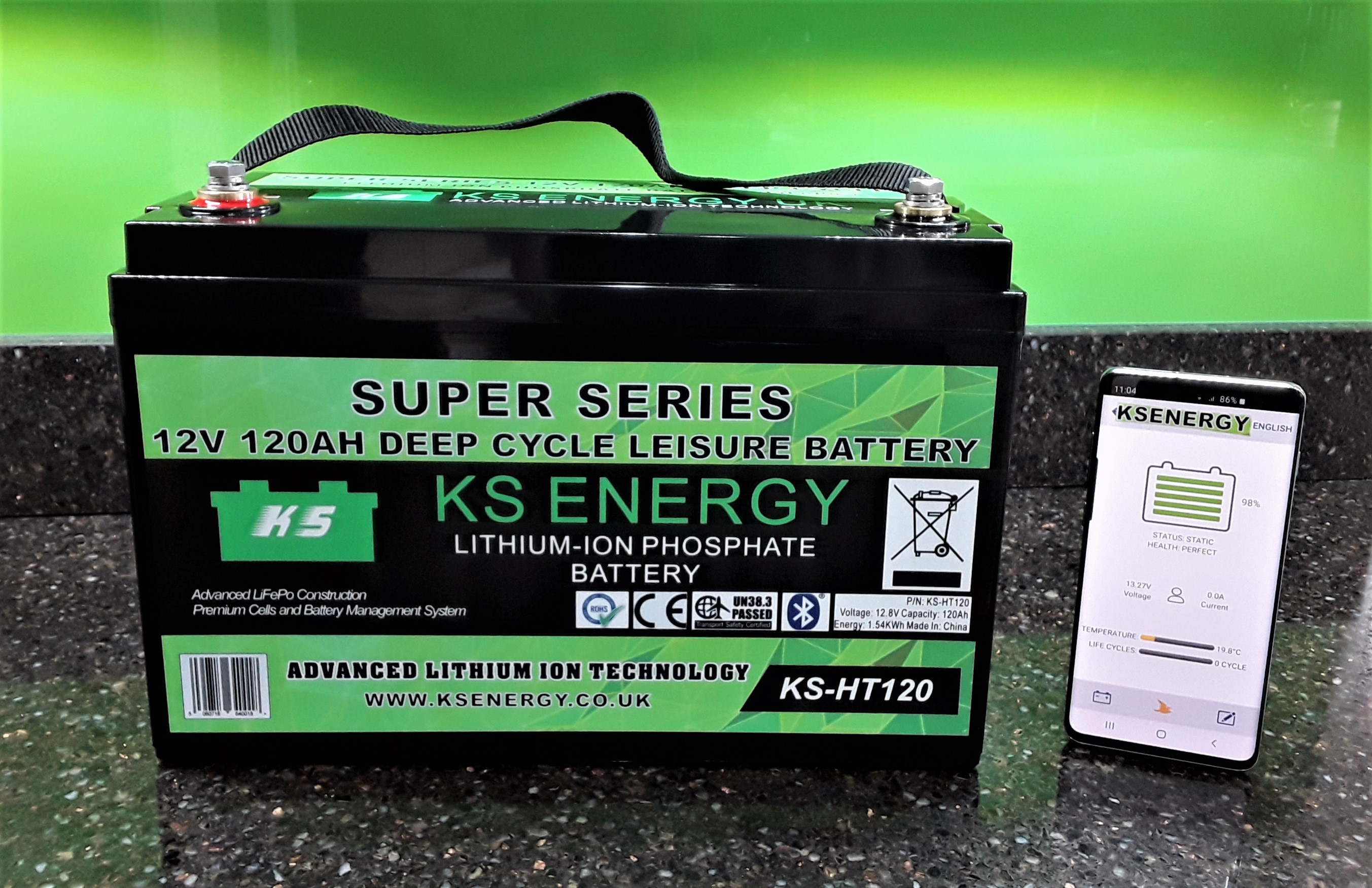 Our first Bluetooth High output low temperature protected 120AH compact leisure battery