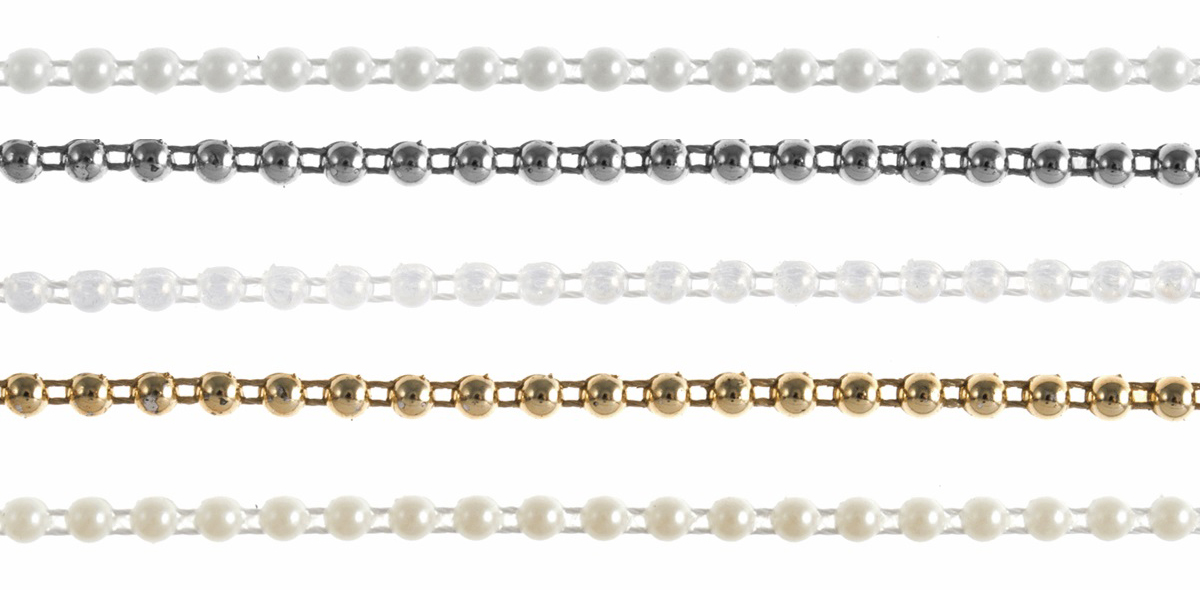 Trimits Flat Backed Pearl Beading 4mm, Pack of 3m