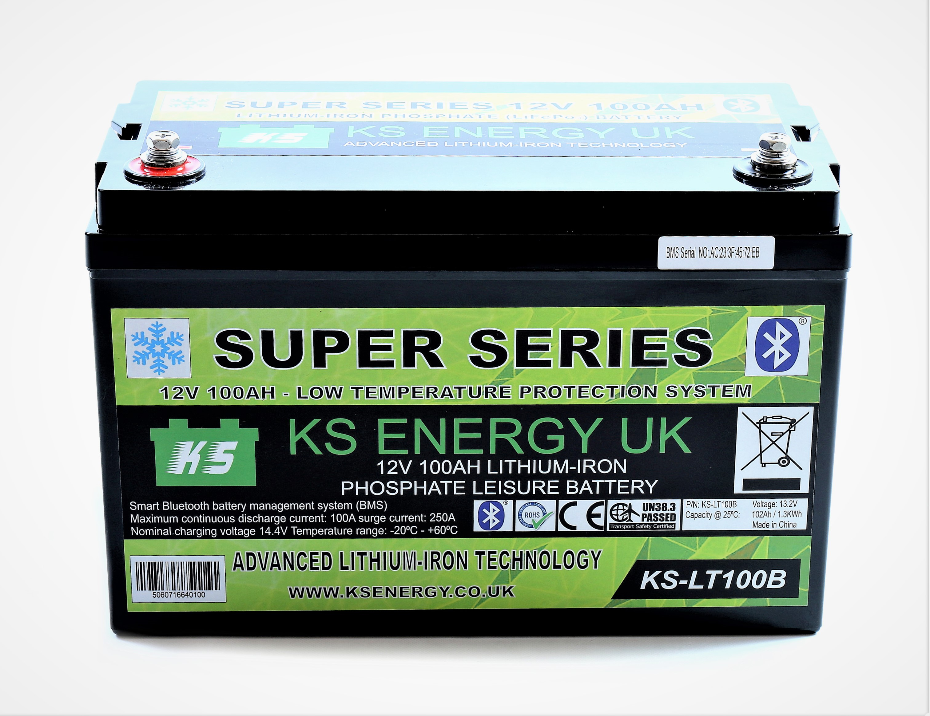 2): KS-LT100B 12v 100AH Bluetooth High Power LiFePo4 lithium leisure battery