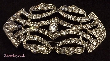 Large diamante brooches- gatsby deco style silver brooch 55 x 25 mm