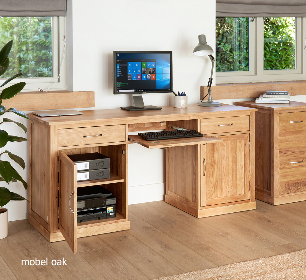 MOBEL - OAK LARGE HIDDEN OFFICE TWIN PEDESTAL DESK