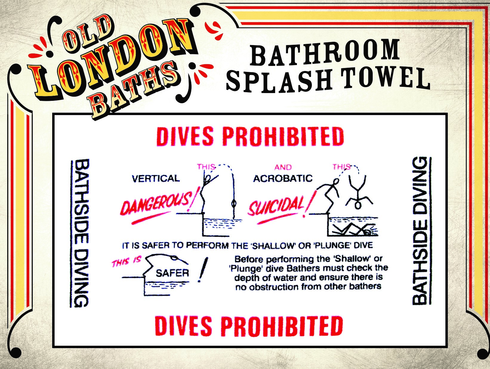 EXCLUSIVE Old London Baths stylish retro cotton shower/bath splash mat