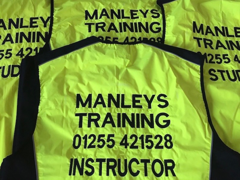 motorcycle training embroidered hi viz clothing t-shirts polos hoodies jackets hats badges & embroidery clacton essex uk
