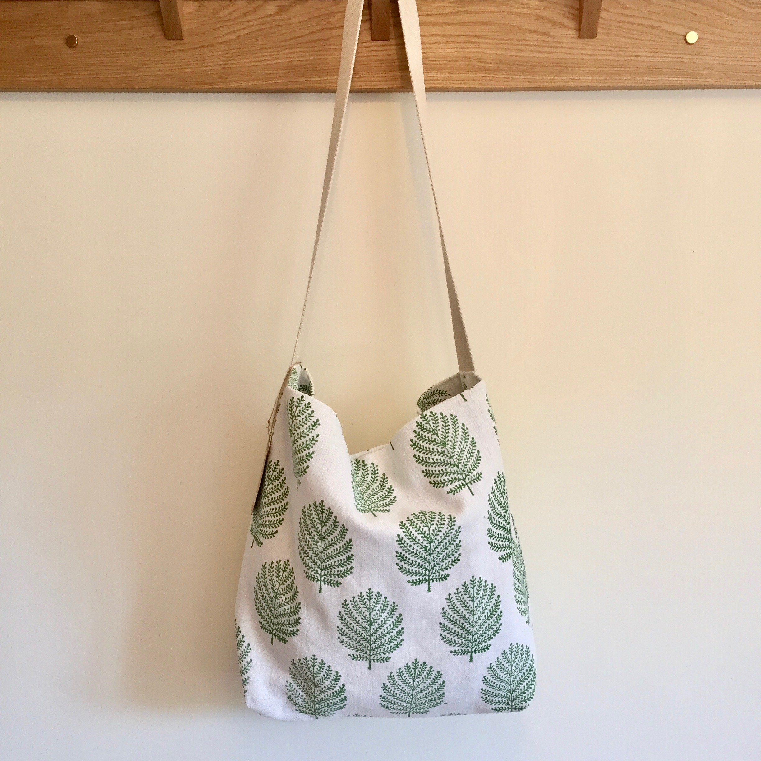 Hand Block Printed  Tree & Jumping Hare Shoulder Bag