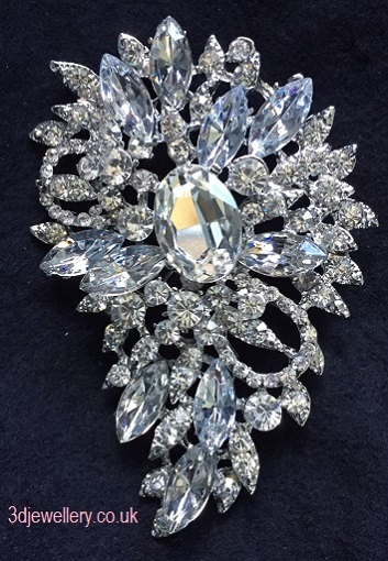 Extra large brooches - airey statement silver wedding brooch 80 x 55 mm
