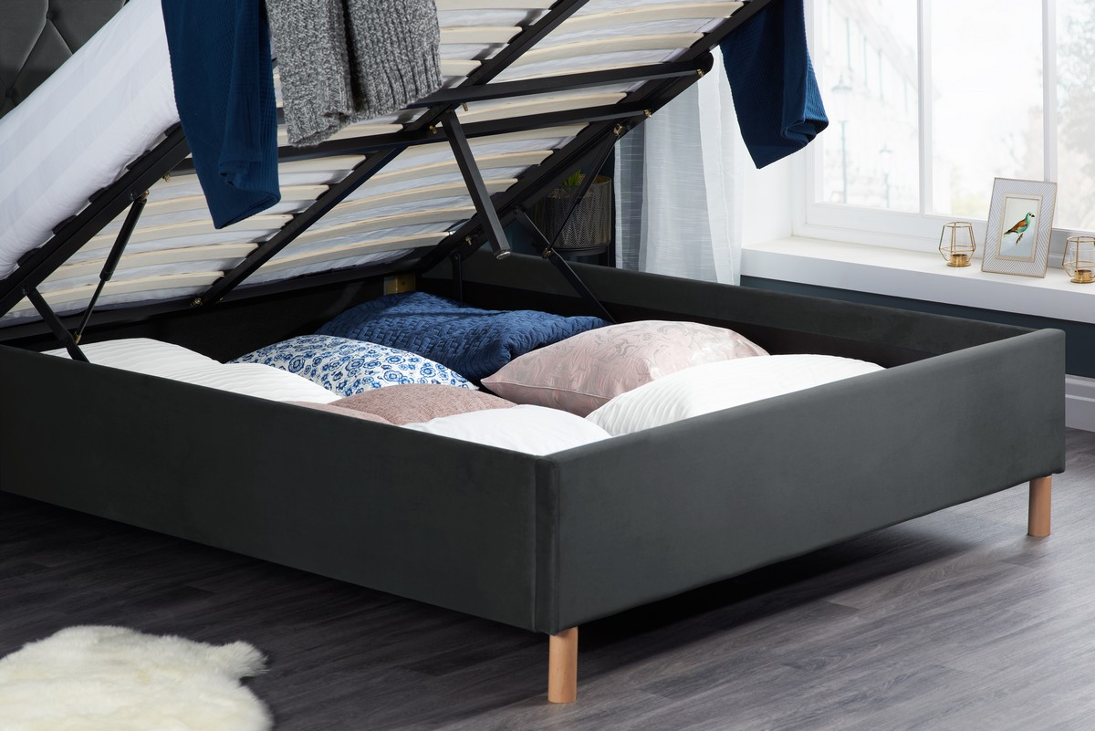 Loxley Ottoman Fabric King Bed - Grey