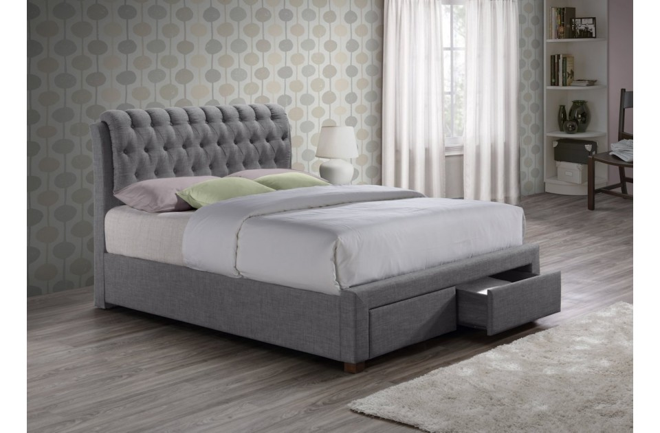 VALENTINO GREY 2 DRAWER FABRIC DOUBLE BED