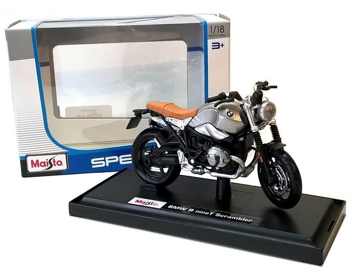 BMW R NineT Scrambler in Silver - 1:18 Die-Cast Motorbike Model by Maisto