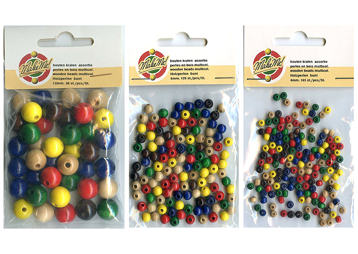 Wooden Beads, Assorted Colours