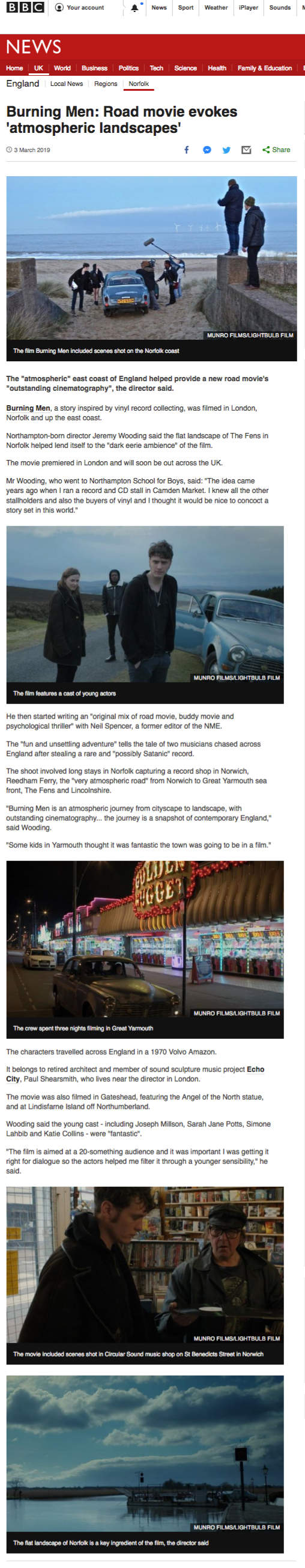 Report on filming in East Anglia