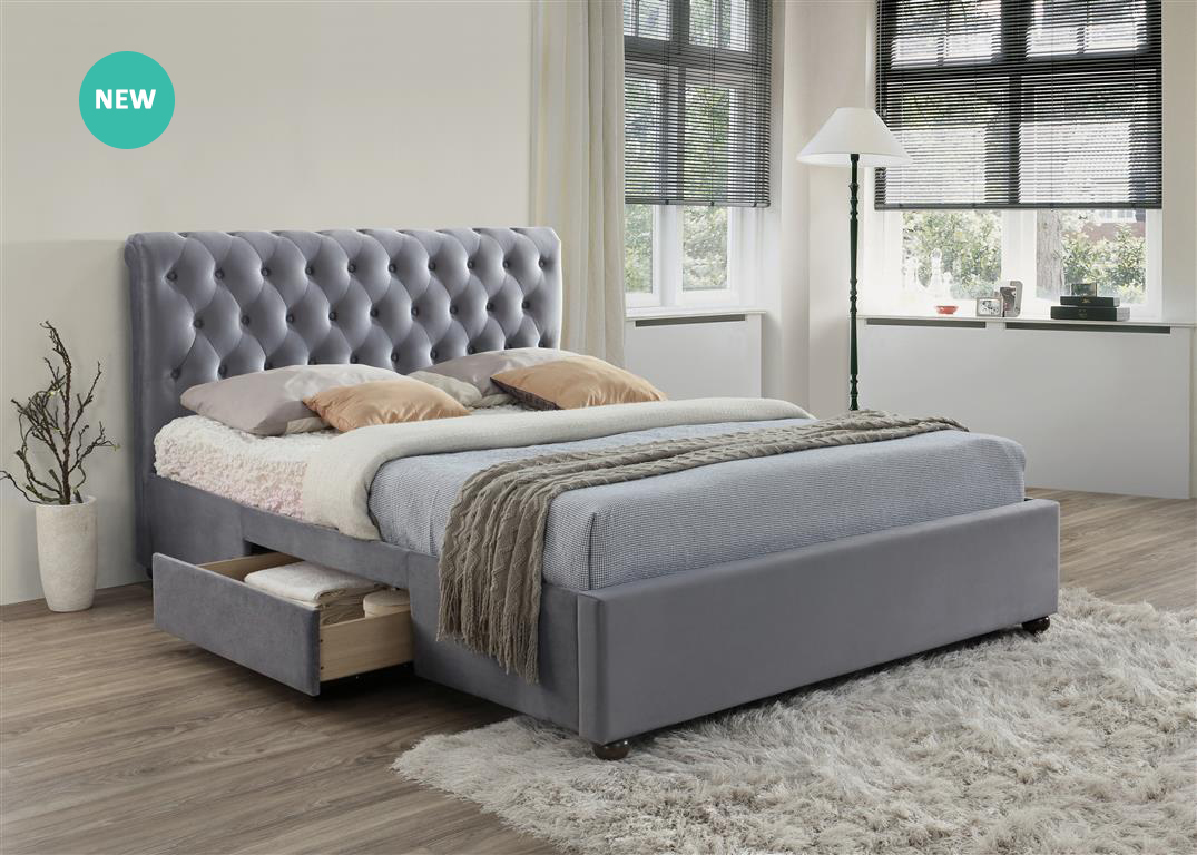MARLOW 2 DRAWER GREY VELVET FABRIC BED – DOUBLE
