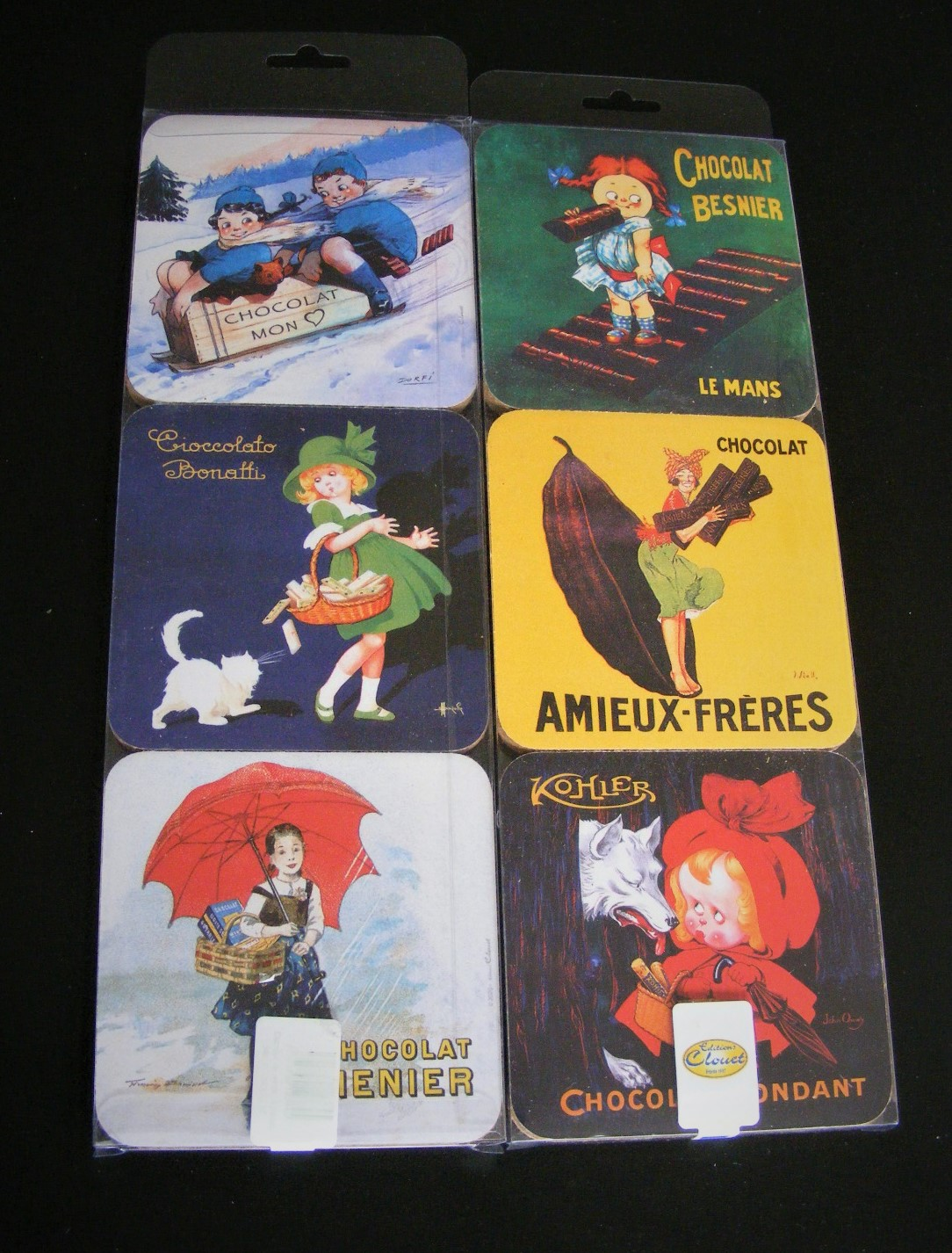 Set of 6 'Editions Clouet' French chocolat advertising themed Coasters