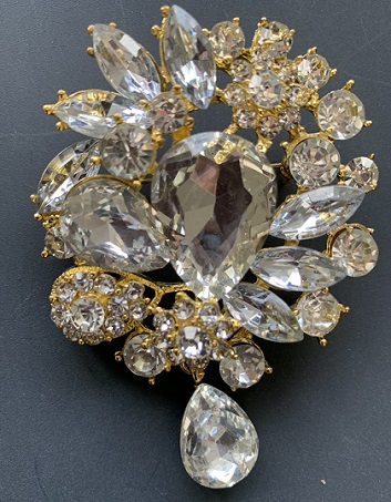 LAST ONE - bridal droplet brooch clear crystal on bright yellow gold 75 x 50 mm