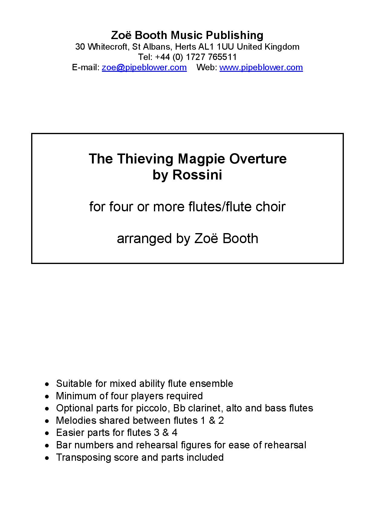 The Thieving Magpie Overture by Rossini,  arranged by Zoë Booth for four or more flutes/flute choir