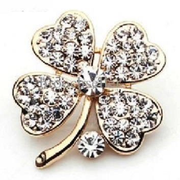 Small gold brooches -four leaf clover brooch 30 x 55 mm