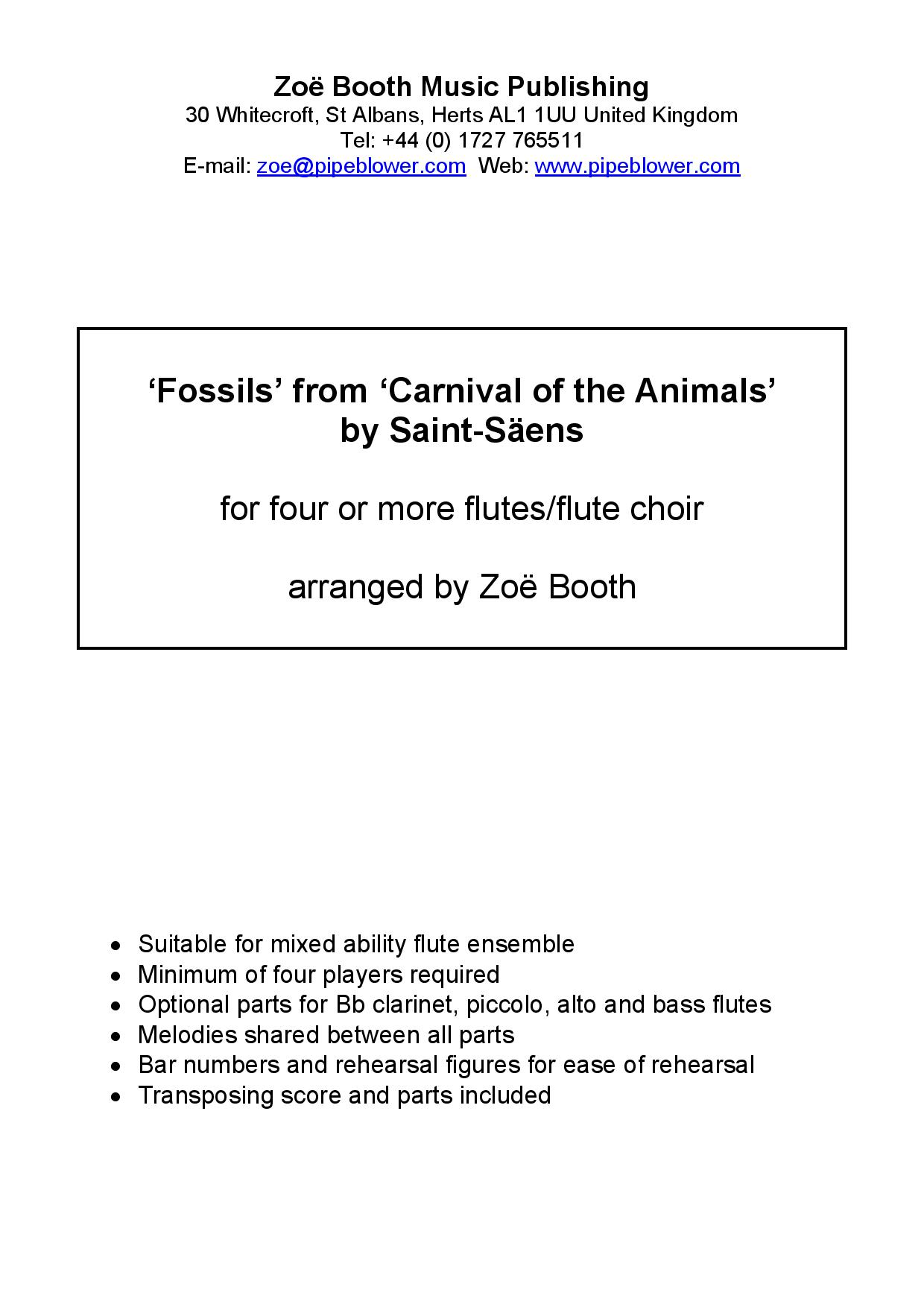 Fossils by Saint-Saëns  arranged by Zoë Booth for four or more flutes/flute choir